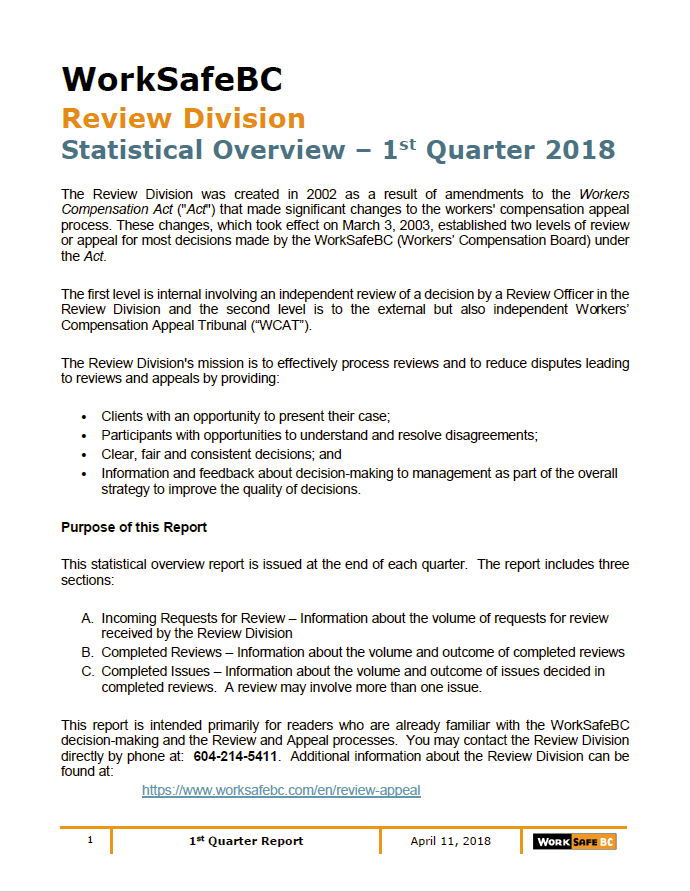 2018 review division statistical report 1st quarter