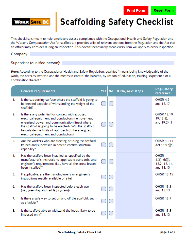 Worksafebc for Scaffold inspection checklist free template