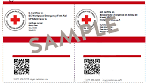 Canadian Red Cross First Aid e-certificate