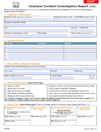 WorkSafeBC Has Developed An Employer Incident Investigation Report (EIIR)  Template You Can Use To Create All Four Reports That May Be Required  Following An ...