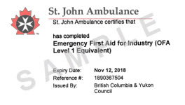 Certificates accepted in bc worksafebc st john ambulance emergency first aid for industry ofa level 1 equivalent yadclub Gallery