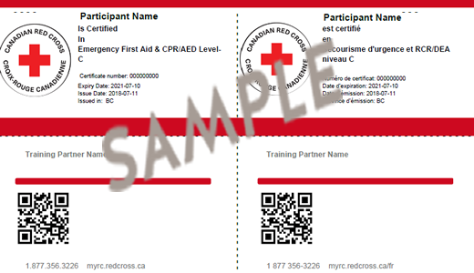 Emergency First Aid & CPR/AED Level C certificate