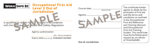 WorkSafeBC Occupational First Aid Level 3 Out of Jurisdiction certificate