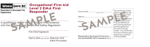 WorkSafeBC Occupational First Aid Level 2 EMA First Responder certificate