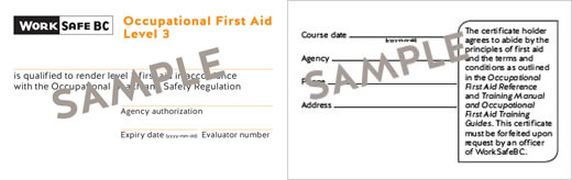 WorkSafeBC Occupational First Aid Level 3 certificate