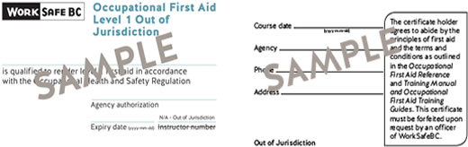 WorkSafeBC Occupational First Aid Level 1 Out of Jurisdiction ticket
