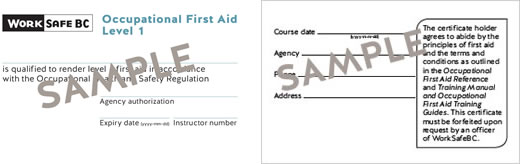 WorkSafeBC Occupational First Aid Level 1 certificate