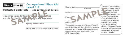 WorkSafeBC Occupational First Aid Level 1 R certificate