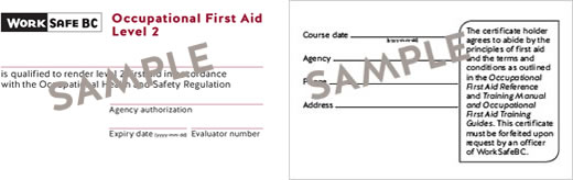 WorkSafeBC Occupational First Aid Level 2 certificate