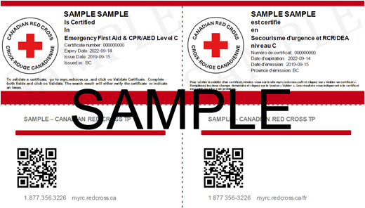 Canadian Red Cross Emergency First Aid & CPR/AED Level C e-certificate