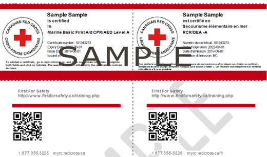 Canadian Red Cross Marine Basic First Aid & CPR/AED Level e-certificate