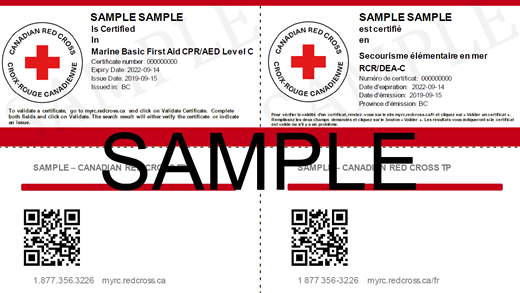 Canadian Red Cross Marine Basic First Aid & CPR/AED Level C e-certificate