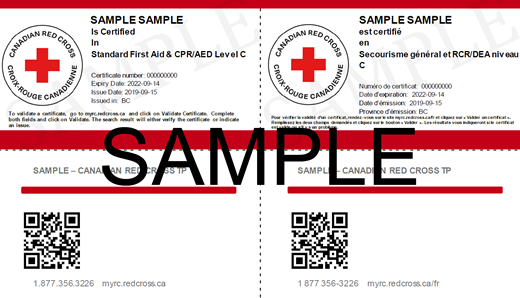 Canadian Red Cross Standard First Aid & CPR/AED Level C e-certificate ticket