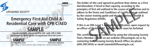 Lifesaving Society Emergency First Aid Child & Residential Care (temporary) (OFA Level 1 Equivalent) ticket