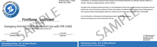 Lifesaving Society Emergency First Aid Child & Residential Care with CPR C/AED ticket