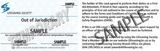 Lifesaving Society Emergency First Aid Out of Jurisdiction (temporary) (OFA Level 1 Equivalent) ticket