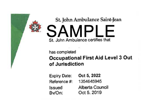 St. John Ambulance Alberta Occupational First Aid Level 3 out of jurisdiction (OFA Level 3 Equivalent) ticket