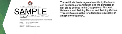 St.  John Ambulance B.C. Emergency First Aid for Industry (OFA Level 1 Equivalent) ticket
