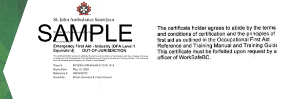 St. John Ambulance B.C. Emergency First Aid for Industry out of  jurisdiction (OFA Level 1 Equivalent) ticket