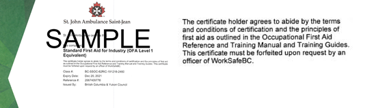 St. John Ambulance B.C. Standard First Aid for Industry (OFA Level 1 Equivalent) ticket