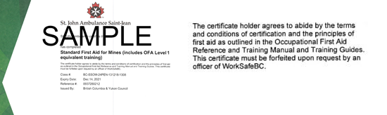 St. John Ambulance B.C. Standard First Aid for Mines including Industry (OFA Level 1 Equivalent) ticket