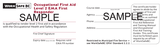 WorkSafeBC Level 2 EMA Licensing Board (EMALB) First Responder Ticket