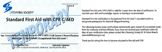 Lifesaving Society Standard First Aid with CPR C/AED