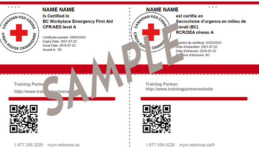 Red Cross BC Workplace Emergency First Aid CPR/AED Level A ticket