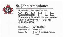 St. John Ambulance Emergency First Aid for Industry out of jurisdiction (OFA Level 1 Equivalent) ticket