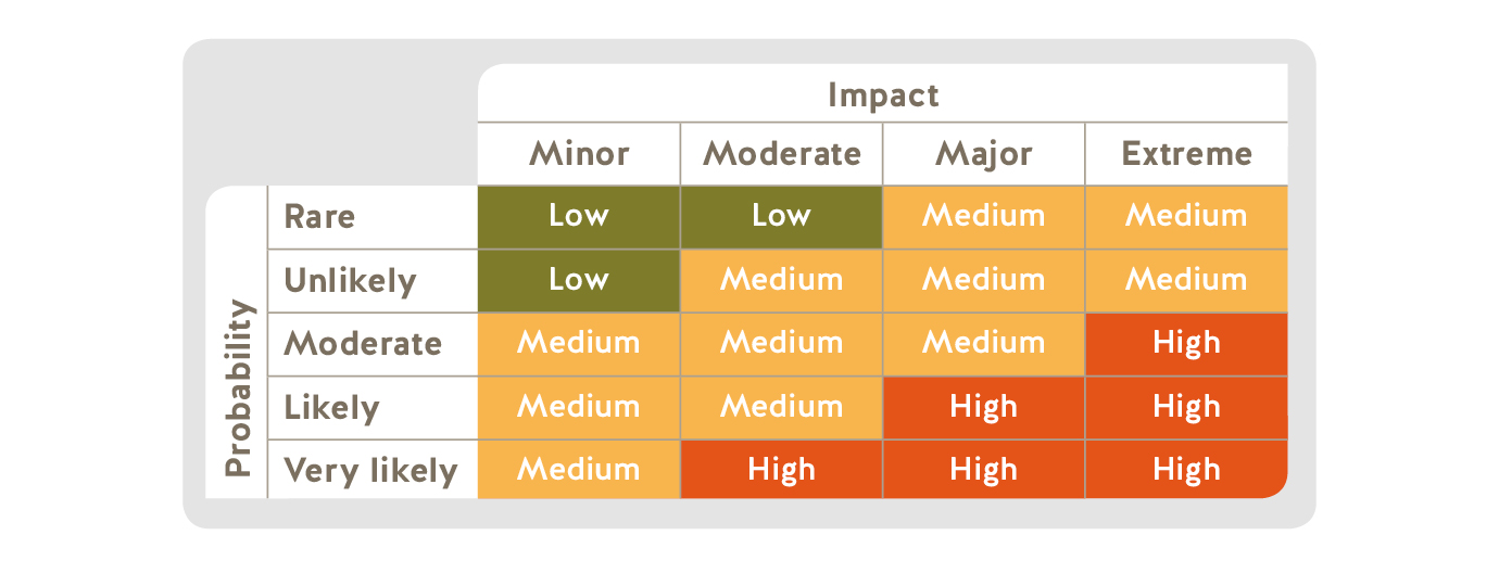 Risk matrix table showing the probability of the risk and the levels of impact
