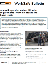 Annual inspection and certification requirements for mobile cranes and boom trucks