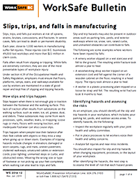 Slips, trips, and falls in manufacturing