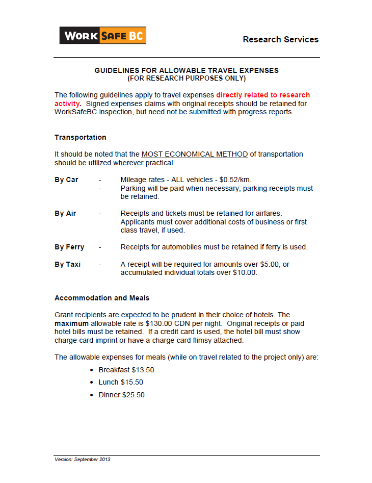 Guidelines For Allowable Travel Expenses