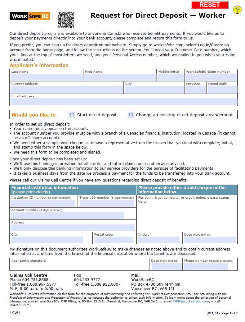 request for direct deposit in canada via electronic funds transfer worker form 19w1