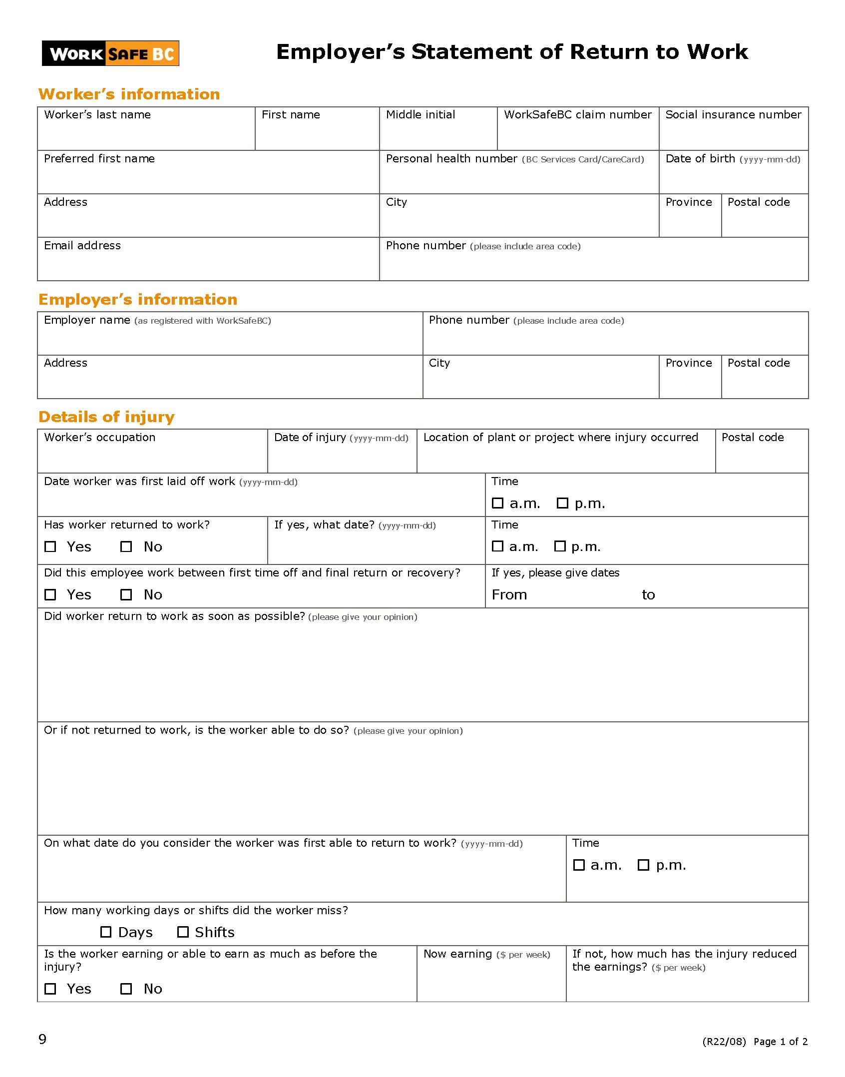 Worksafebc employers statement of return to work form 9 altavistaventures Choice Image