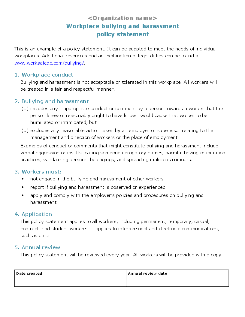developing a policy statement template workplace bullying and harassment