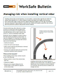 "Page one of bulletin titled ""Managing risk when installing vertical rebar"""