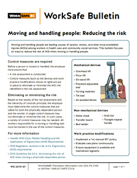 Moving and handling people: Reducing the risk