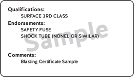 Back of WorkSafeBC blasting certification card sample