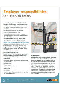 Employer responsibilities for lift truck safety | WorkSafeBC