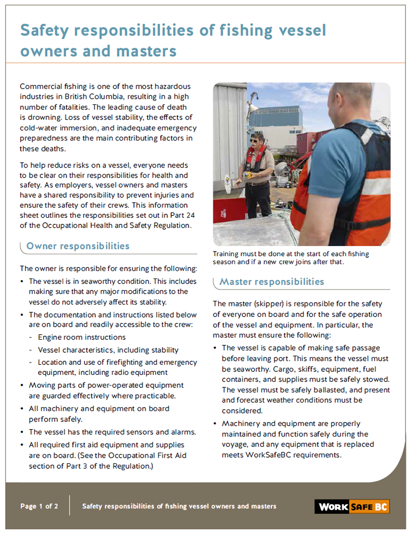 Safety responsibilities of fishing vessel owners and masters