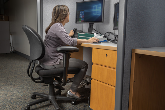 Photo challenge for November-December 2019 Office Ergonomics. Image is of an office worker sitting at a workstation.