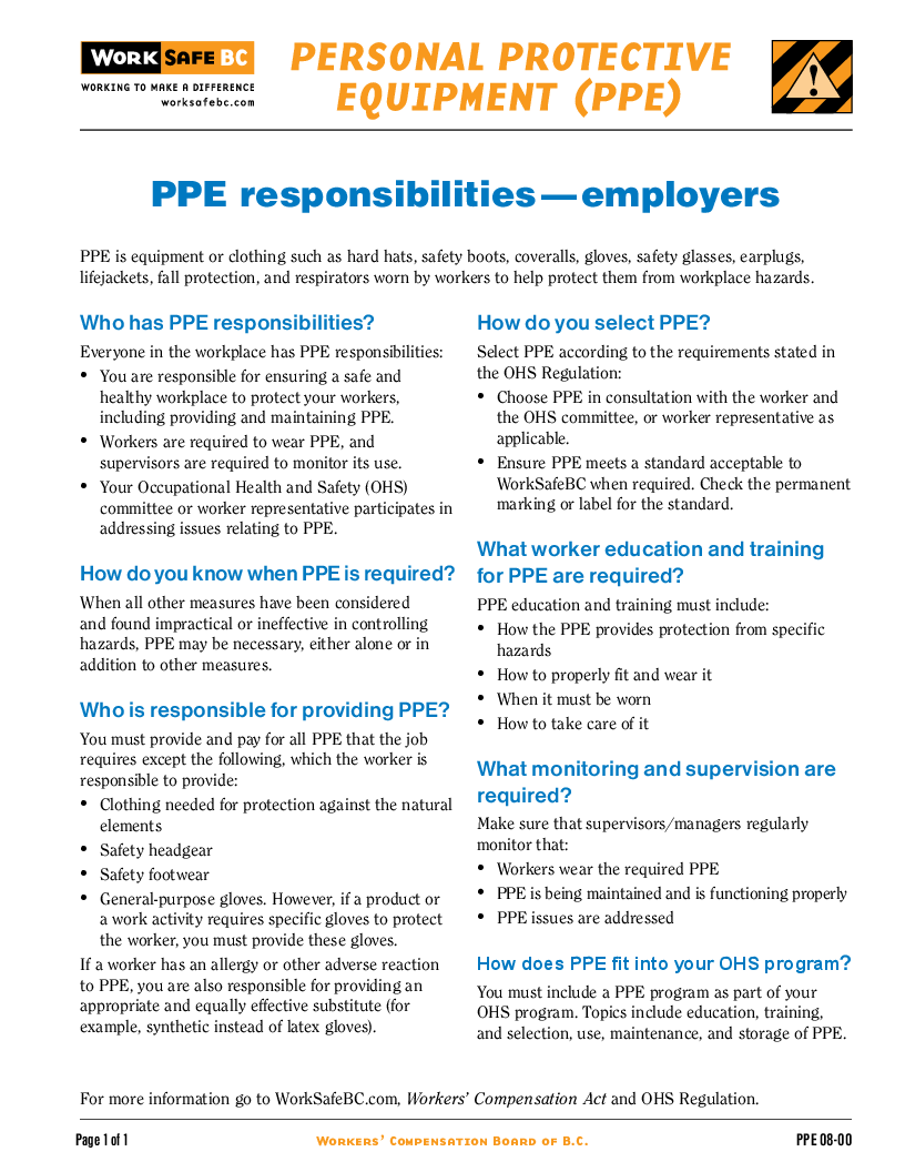 ppe responsibilities employers