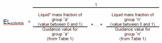 ELsolvmix equals 1 divided by: (Liquid mass fraction of group 'a' (value between 0 and 1) divided by Guidance value for group 'a' (from Table 1)) + (Liquid mass fraction of group 'n' (value between 0 and 1) divided by Guidance value for group 'n' (from Table 1))